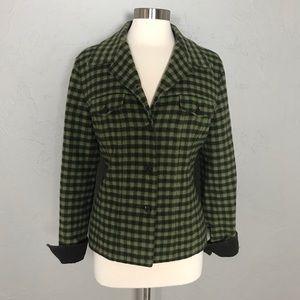 Talbots Green Plaid Wool & Corduroy Jacket Blazer